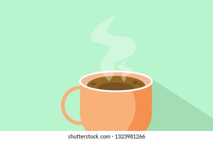 Black fresh hot coffee in cup with smoke, flat design vector and vintage color concept.