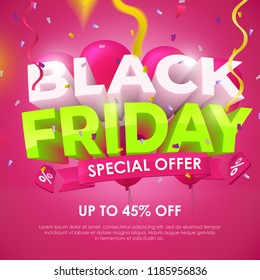 Black friday 2018. Sale banner template design. Beautiful discount and promotion banner. 3d inscription, ribbons and red balloons on a dark background. Sale poster for the promo. Vector Illustration
