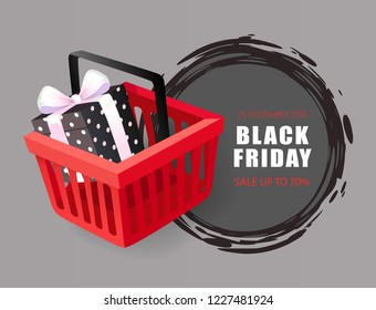 Black Friday 25 November 2018 price tag with shopping cart with gift box vector. Round sketchy label, hottest autumn total sale event with discounts