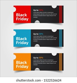Black Friday up to 30%, 50%, 70%. Banner Design for the sale with red, blue, and yellow colors. Vector illustration. Set of elements of three abstract style on gray background.Elements of infographics