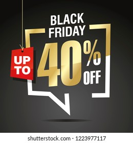 Black Friday 40 percent off sale isolated gold white red black sticker icon