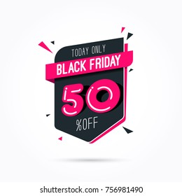 Black Friday 50% Off Offer Shopping Tag