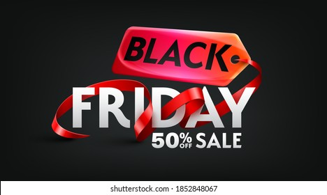 Black Friday 50% off Sale Poster for Retail,Shopping or Promotion with red ribbon and sales tag on black backgrounds.Black Friday banner template design.Vector illustration eps 10
