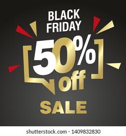Black Friday 50 percent off sale modern gold black color sticker icon banner