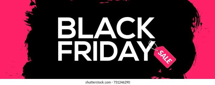 Black Friday abstract black ink splash banner template illustration. Black friday sale grunge label.