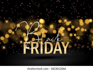 Black Friday background with a glittery bokeh lights design