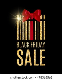 Black Friday background with golden glitter Present barcode. Sale concept. Vector illustration