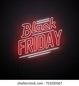 Black Friday background. Neon sign. Vector illustration.