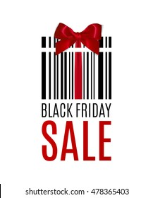 Black Friday background with Present barcode. Sale concept. Vector illustration