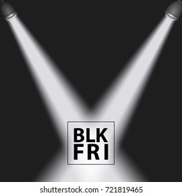 Black friday background with reflectors , vector illustration