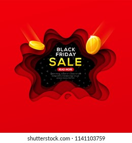 Black Friday banner with abstract paper cut shapes, shadows and falling coins for season discount and sales.