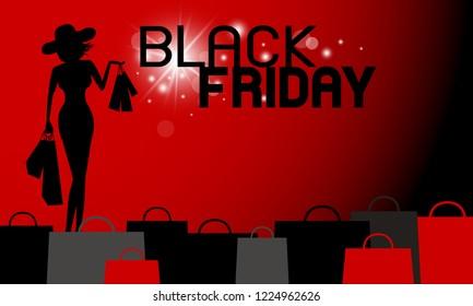 Black friday banner design of woman holding shopping bag vector illustration