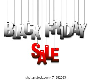 Black Friday banner. Inscription Black Friday Sale hanging on a ropes on a isolated background. Vector illustration