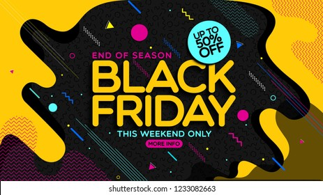 Black friday banner, poster,banner. 50%off Vector Illustration. Social media vector illustration template for website and mobile website development, email and newsletter design, marketing material.