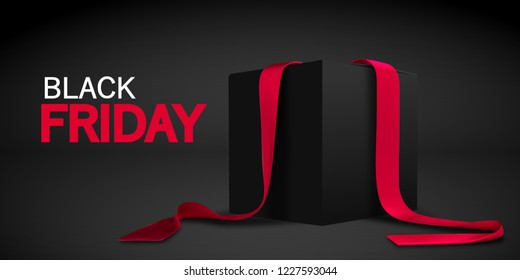 Black Friday banner. Realistic black box with red ribbon isolated on dark background. Vector.