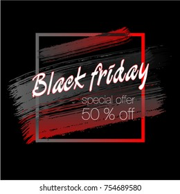 Black friday banner. Sale 50% off. Special offer. Vector illustration. Huge discount. Advertising poster. Abstraction. Square