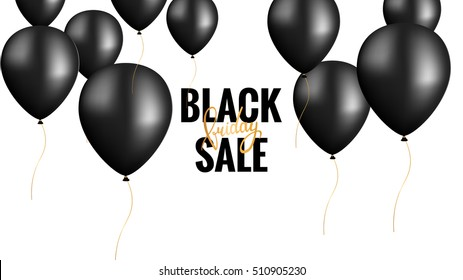 Black Friday.  Banner Template with Black Balloons.