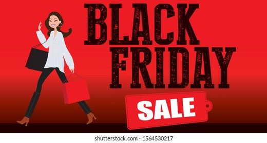 Black Friday banner. Woman shopping. For art template design, list, page, mockup brochure style, banner, cover, booklet, print, flyer, book, blank, card, ad, sign, poster, badge.