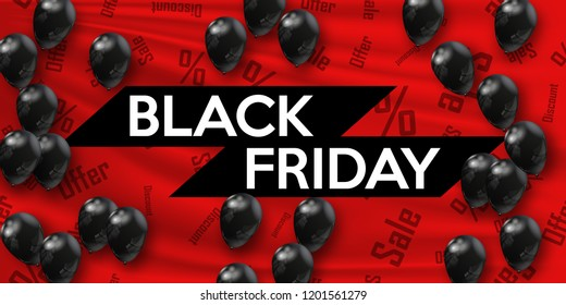 Black Friday. Banner for your design with black air balloons of the world day of sale. Vector illustration.