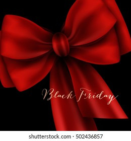 Black Friday Big Sale lettering with big red silk bow on black background Calligraphic Designs. Poster Sale.Typography. Vector illustration.