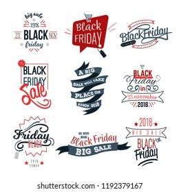 Black Friday big sale logo sign set