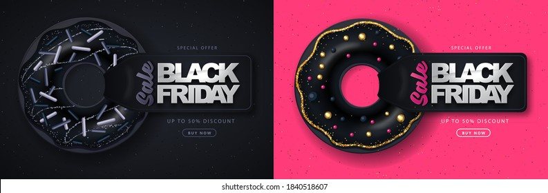 Black friday big sale poster with black sweet donuts on dark and pink background