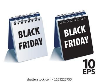 Black Friday calendar. Realistic vector 3d illustration