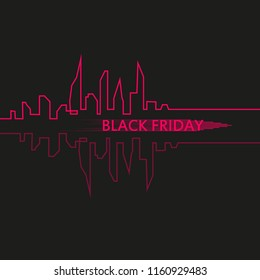 Black Friday in the City the Perfect Sale. White Ribbon Banner in Flat Style on a Black Background with an Abstract City Skyline. Vector Illustration
