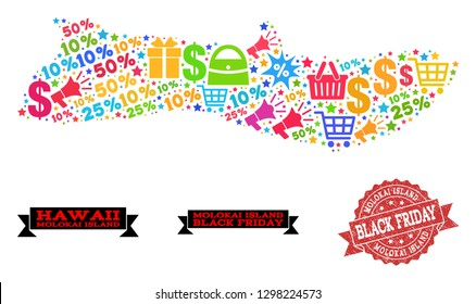Black Friday collage of mosaic map of Molokai Island and unclean stamp. Vector red seal with distress rubber texture with Black Friday title. Flat design for shopping templates.