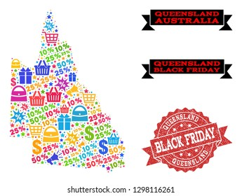Black Friday composition of mosaic map of Australian Queensland and scratched stamp seal. Vector red seal with scratched rubber texture with Black Friday slogan. Flat design for trade illustrations.