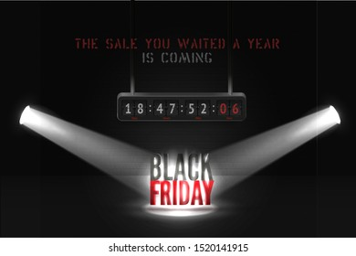 Black friday countdown vector banner template. Creative mega sale advert with counting time to start flip board. Realistic limelight beams illuminating discount offer, trendy poster design layout