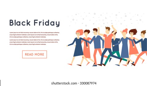 Black Friday crowd of people running to the store on sale. Flat design vector illustration.