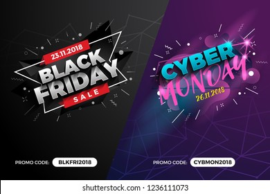 Black Friday and Cyber Monday Sale Promotion Banner Background with Promo Code Field. Vector illustration