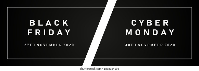 Black friday and Cyber monday sale Web banners. Vector illustration EPS10