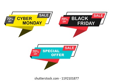 Black Friday and Cyber Monday sales banner. Vector origami sale banner and ribbon sale banner element for web or print banner, flyer, brochure, etc