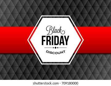 Black friday design element with red ribbon on triangular background