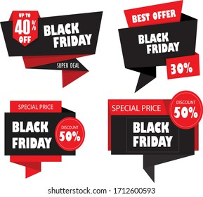 Black Friday Design Elements 3D Origami Decoration