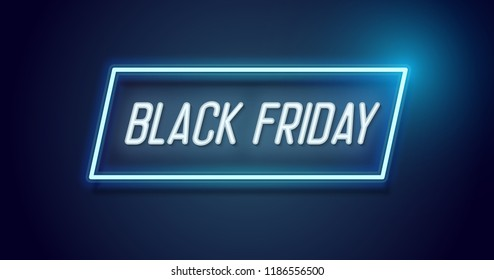 Black Friday design with neon light frame. Vector background for November seasonal sale event with glowing text