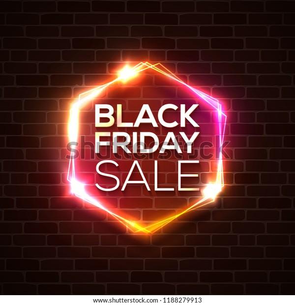 Black Friday Design Neon Sign Web Stock Vector (Royalty Free) 1188279913