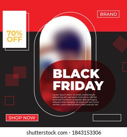 Black friday design on red and black background with squared shapes