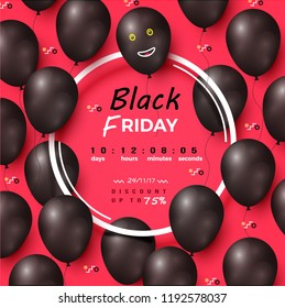 Black friday discount with text sample counting days, hours and minutes for starting of reduction season in autumn, balloons set vector illustration