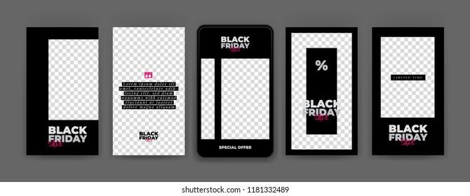 Black Friday. Editable Instagram stories template. Streaming. Sale