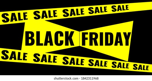 Black Friday event sale modern banner with yellow ribbon and bow on black background. Advertising campaign concept. Vector stock illustration.