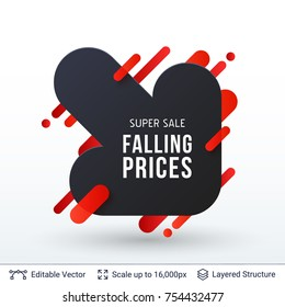 Black Friday Falling Prices badge. Arrow down silhouette. Vector template for big discounts and special offers.