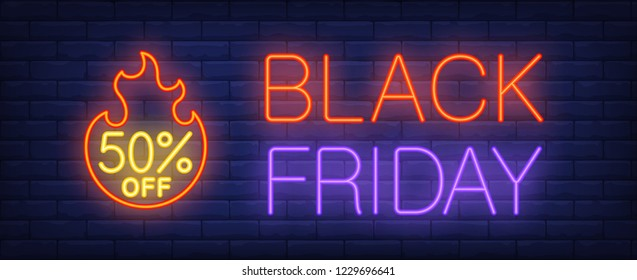 Black Friday, fifty percent off neon text with fire flame. Sale advertising design. Night bright neon sign, colorful billboard, light banner. Vector illustration in neon style.