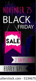 Black Friday flyer SALE. Colourful grunge background. Hand drawn vector design template.