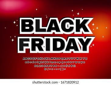 Black Friday Font. 3D Alphabet Buchstaben, Zahlen, Symbole Vektorillustration.