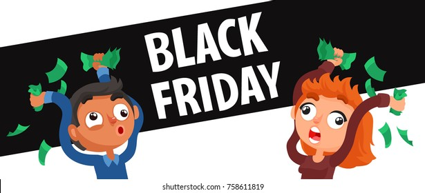 Black Friday Funny Poster. Man And Woman With Money Ready For Shopping. Cartoon Style Vector Illustration