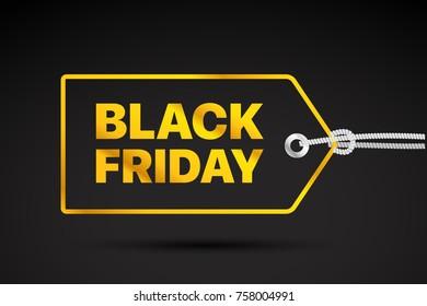 Black Friday golden Label. Black friday sale vector tag