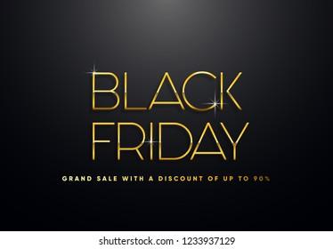 Black Friday golden vector illustration